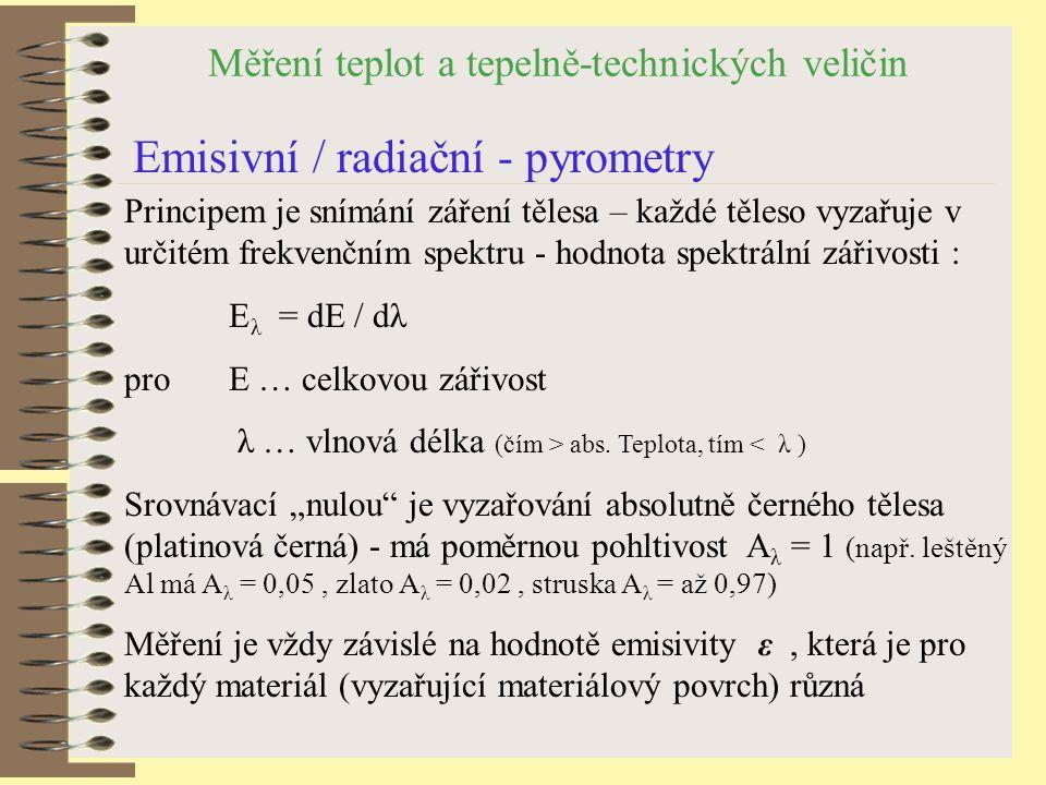 Měření teplot a tepelně-technických veličin Emisivní / radiační - pyrometry Principem je snímání záření tělesa – každé těleso vyzařuje v určitém frekvenčním spektru - hodnota spektrální zářivosti : E λ = dE / dλ pro E … celkovou zářivost λ … vlnová délka (čím > abs.