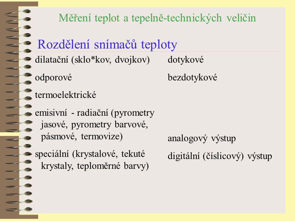 Měření teplot a tepelně-technických veličin Termoelektrické - materiály a vlastnosti Typprvek teplot.rozsah [ o C] termoel.