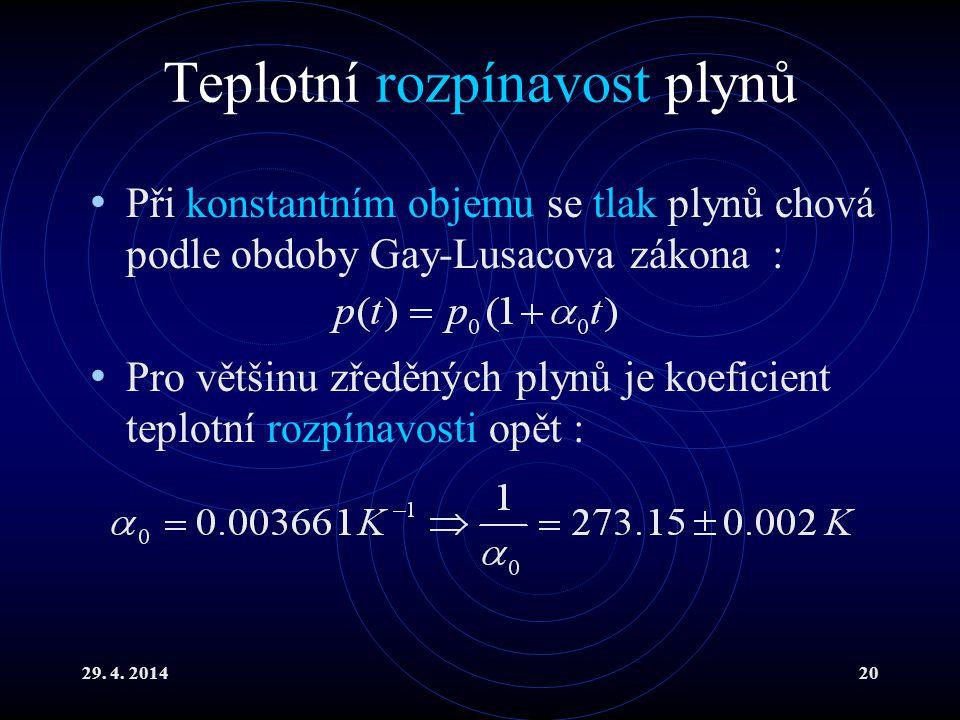 29. 4. 201420 Teplotní rozpínavost plynů Při konstantním objemu se tlak plynů chová podle obdoby Gay-Lusacova zákona : Pro většinu zředěných plynů je