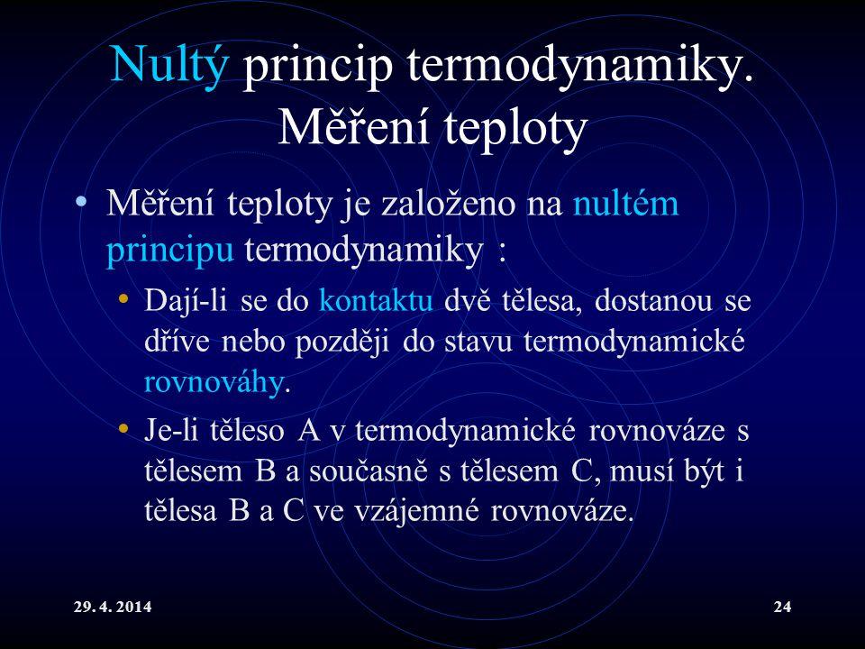 29. 4. 201424 Nultý princip termodynamiky. Měření teploty Měření teploty je založeno na nultém principu termodynamiky : Dají-li se do kontaktu dvě těl