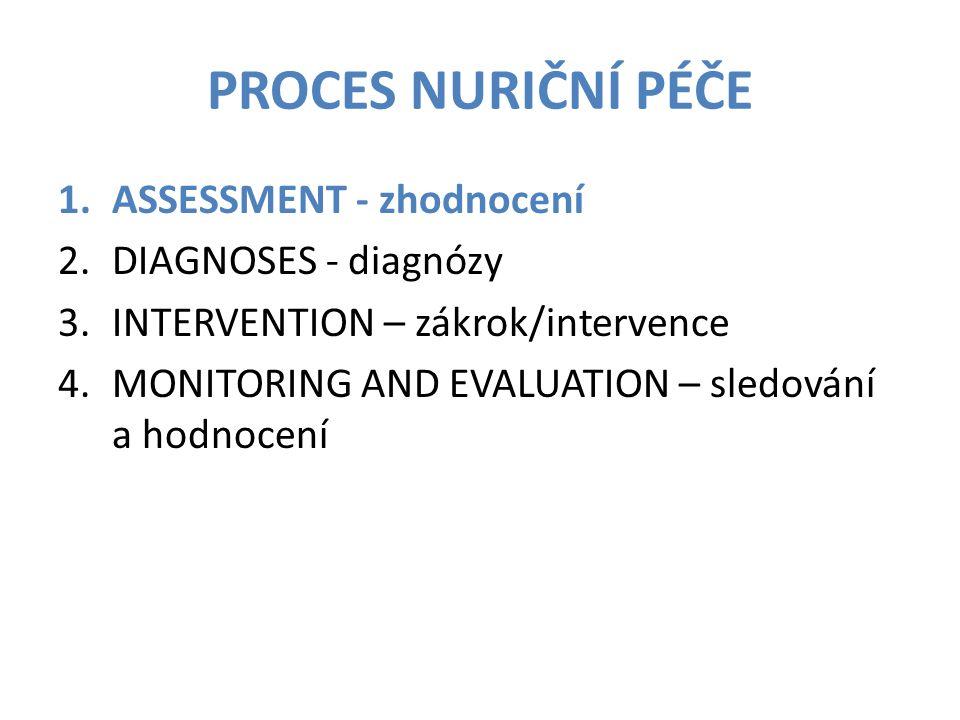 PROCES NURIČNÍ PÉČE 1.ASSESSMENT - zhodnocení 2.DIAGNOSES - diagnózy 3.INTERVENTION – zákrok/intervence 4.MONITORING AND EVALUATION – sledování a hodn