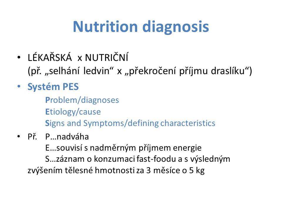 """Nutrition diagnosis LÉKAŘSKÁ x NUTRIČNÍ (př. """"selhání ledvin"""" x """"překročení příjmu draslíku"""") Systém PES Problem/diagnoses Etiology/cause Signs and Sy"""