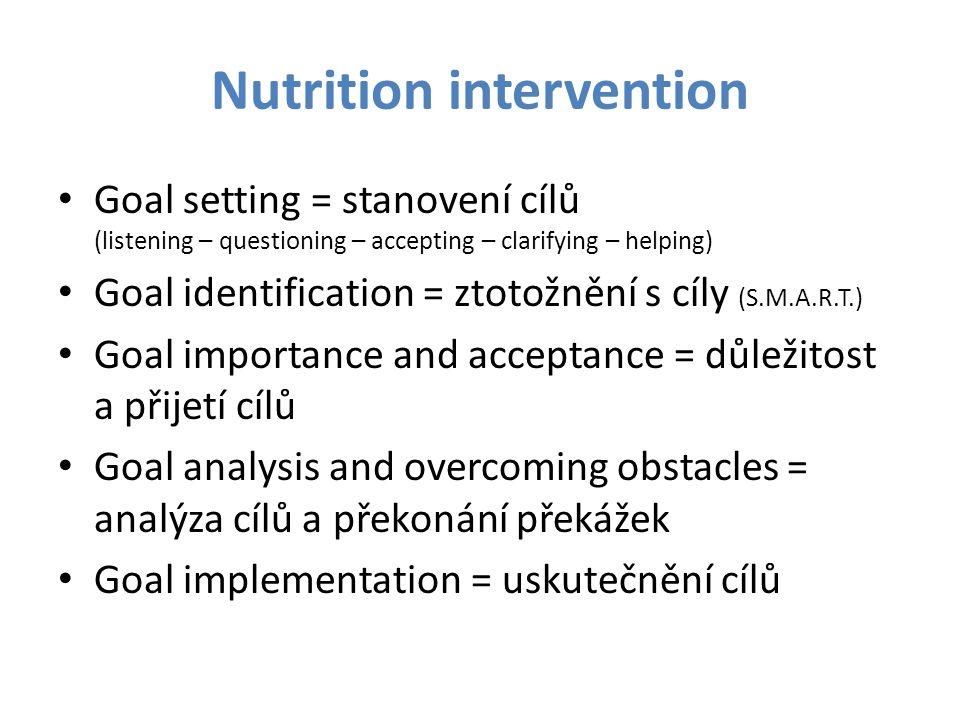 Nutrition intervention Goal setting = stanovení cílů (listening – questioning – accepting – clarifying – helping) Goal identification = ztotožnění s c