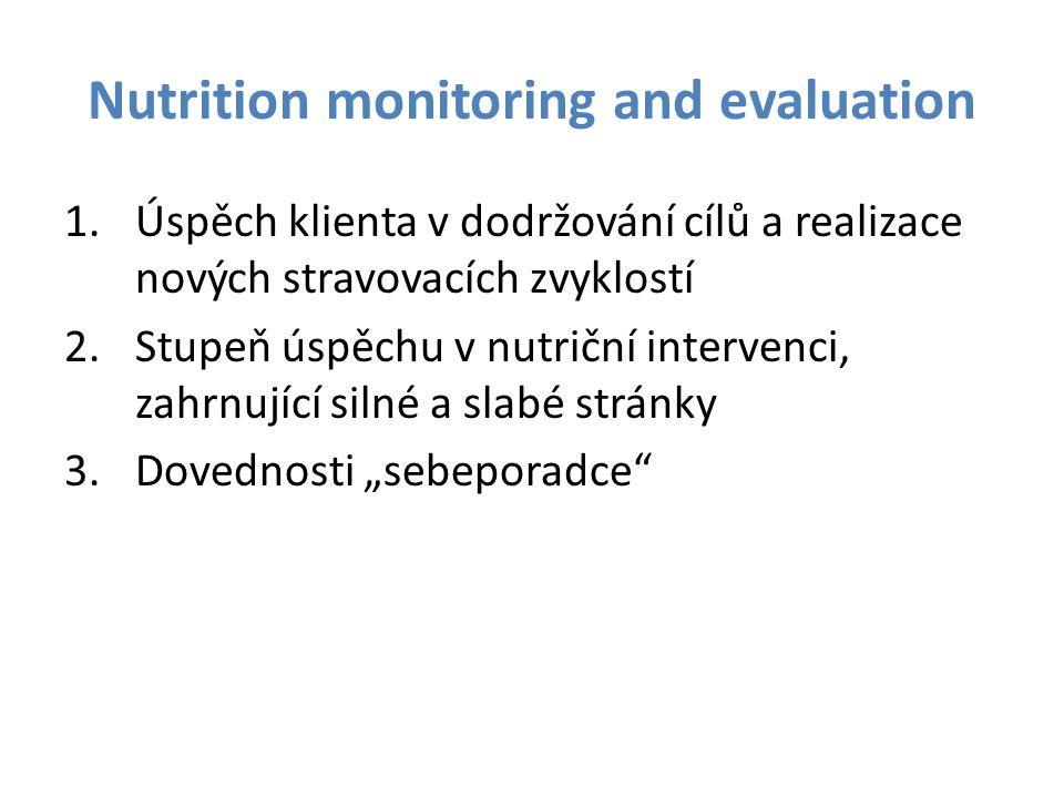 Nutrition monitoring and evaluation 1.Úspěch klienta v dodržování cílů a realizace nových stravovacích zvyklostí 2.Stupeň úspěchu v nutriční intervenc