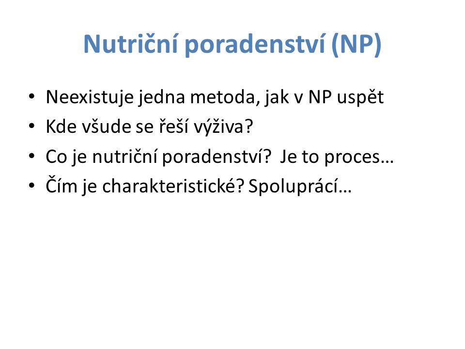 Nutriční poradenství (NP) Neexistuje jedna metoda, jak v NP uspět Kde všude se řeší výživa? Co je nutriční poradenství? Je to proces… Čím je charakter