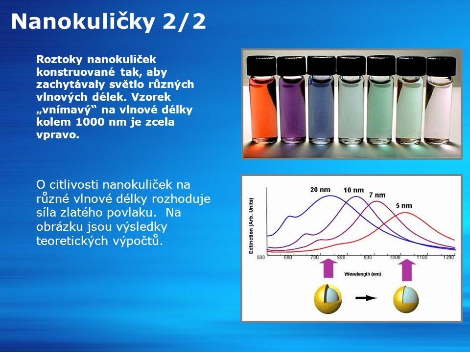 Nanokuličky 2/2 Roztoky nanokuliček konstruované tak, aby zachytávaly světlo různých vlnových délek.