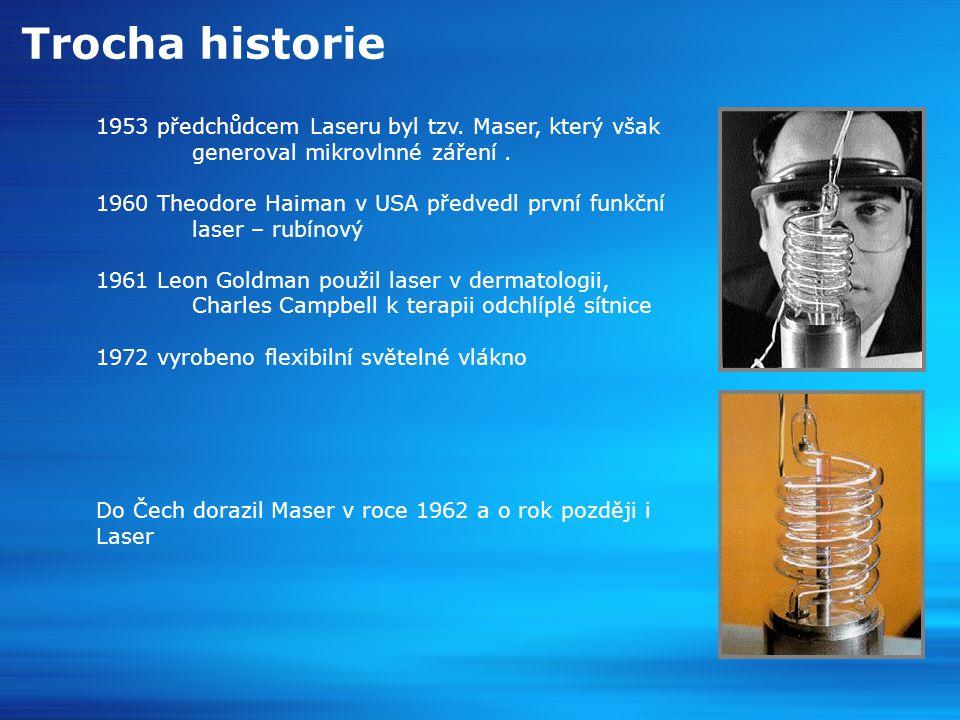 Trocha historie 1953 předchůdcem Laseru byl tzv.Maser, který však generoval mikrovlnné záření.