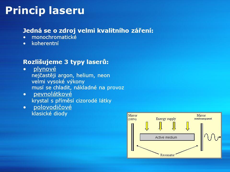 Dělení laseru v medicíně 1/2 CO2 laser použit plyn kysličníku uhličitého vlnová délka 10 600nm neproniká tekutým prostředím hloubka vniku 0,1 – 0,5 mm od povrchu paprsek nelze přenášet optickým vláknem Nd:YAG laser použit krystal ytria hliníkového granátu obohaceného Neodymem vlnová délka 1 064nm proniká hluboko do tkání tekuté prostředí není překážkou bezpečnější a sofistikovanější