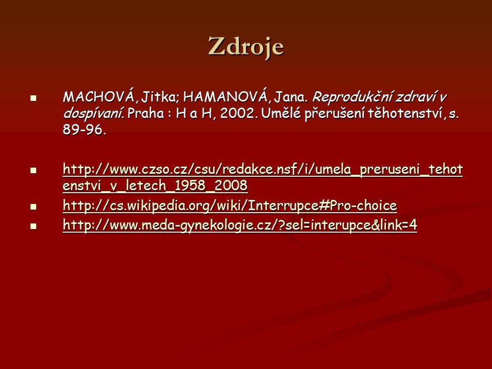 Zdroje MACHOVÁ, Jitka; HAMANOVÁ, Jana. Reprodukční zdraví v dospívaní. Praha : H a H, 2002. Umělé přerušení těhotenství, s. 89-96. MACHOVÁ, Jitka; HAM