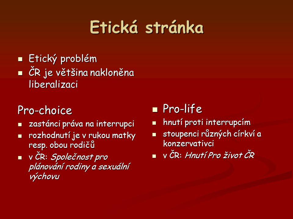 Etická stránka Etický problém Etický problém ČR je většina nakloněna liberalizaci ČR je většina nakloněna liberalizaciPro-choice zastánci práva na int