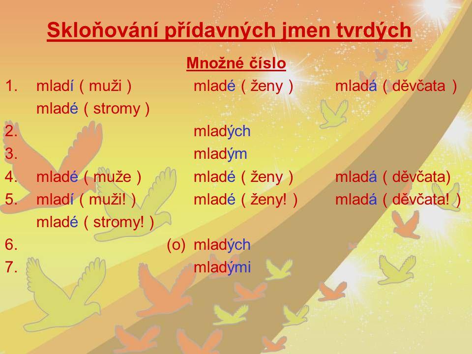 Skloňování přídavných jmen tvrdých Množné číslo 1.mladí ( muži )mladé ( ženy )mladá ( děvčata ) mladé ( stromy ) 2.mladých 3.mladým 4.mladé ( muže )ml