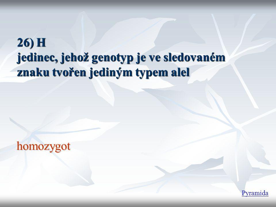 26) H jedinec, jehož genotyp je ve sledovaném znaku tvořen jediným typem alel homozygot Pyramida