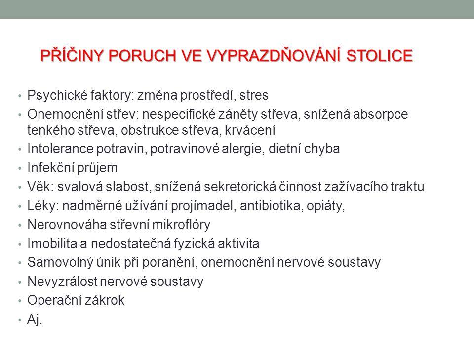 PŘÍČINY PORUCH VE VYPRAZDŇOVÁNÍ STOLICE Psychické faktory: změna prostředí, stres Onemocnění střev: nespecifické záněty střeva, snížená absorpce tenké