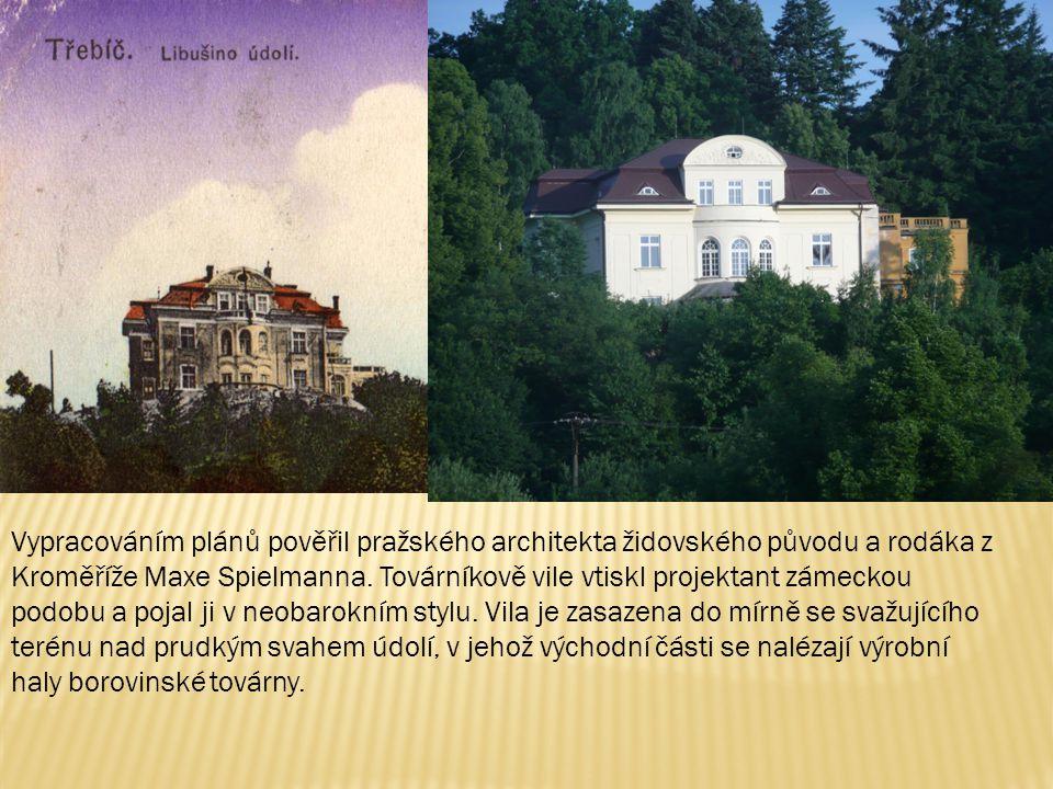 Vypracováním plánů pověřil pražského architekta židovského původu a rodáka z Kroměříže Maxe Spielmanna.