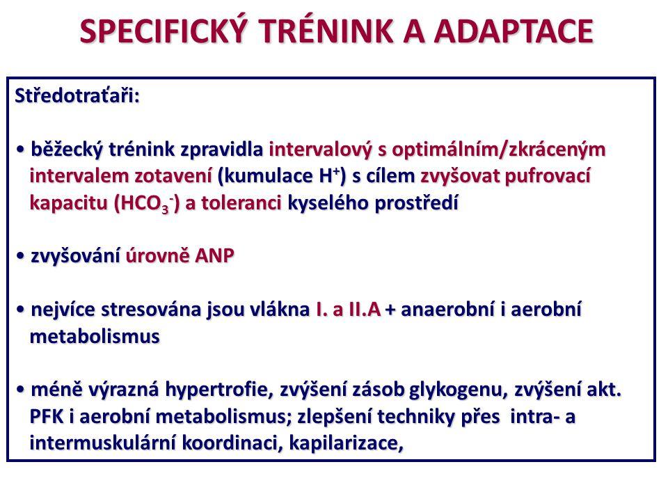 SPECIFICKÝ TRÉNINK A ADAPTACE Středotraťaři: běžecký trénink zpravidla intervalový s optimálním/zkráceným běžecký trénink zpravidla intervalový s opti
