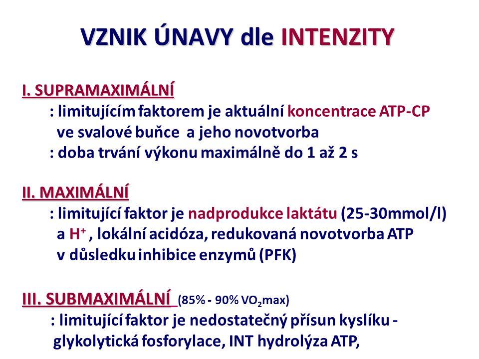 VZNIK ÚNAVY dle INTENZITY I. SUPRAMAXIMÁLNÍ : limitujícím faktorem je aktuální koncentrace ATP-CP ve svalové buňce a jeho novotvorba : doba trvání výk