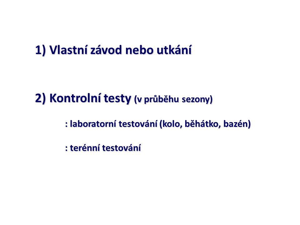 1) Vlastní závod nebo utkání 2) Kontrolní testy (v průběhu sezony) : laboratorní testování (kolo, běhátko, bazén) : terénní testování