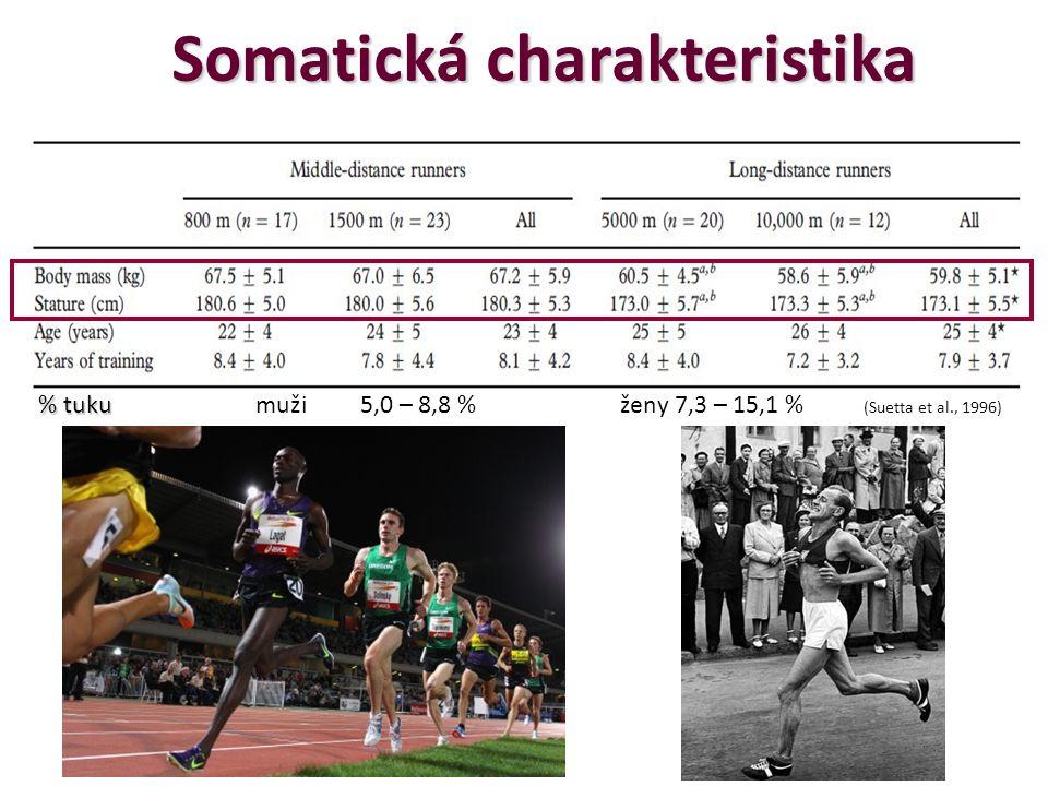 Somatická charakteristika % tuku % tuku muži 5,0 – 8,8 % ženy 7,3 – 15,1 % (Suetta et al., 1996)