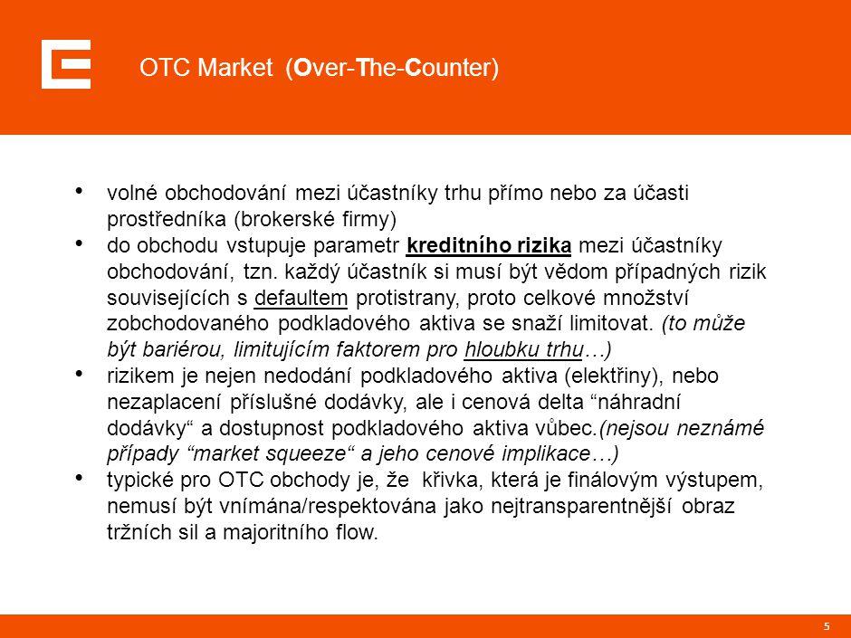 5 OTC Market (Over-The-Counter) volné obchodování mezi účastníky trhu přímo nebo za účasti prostředníka (brokerské firmy) do obchodu vstupuje parametr