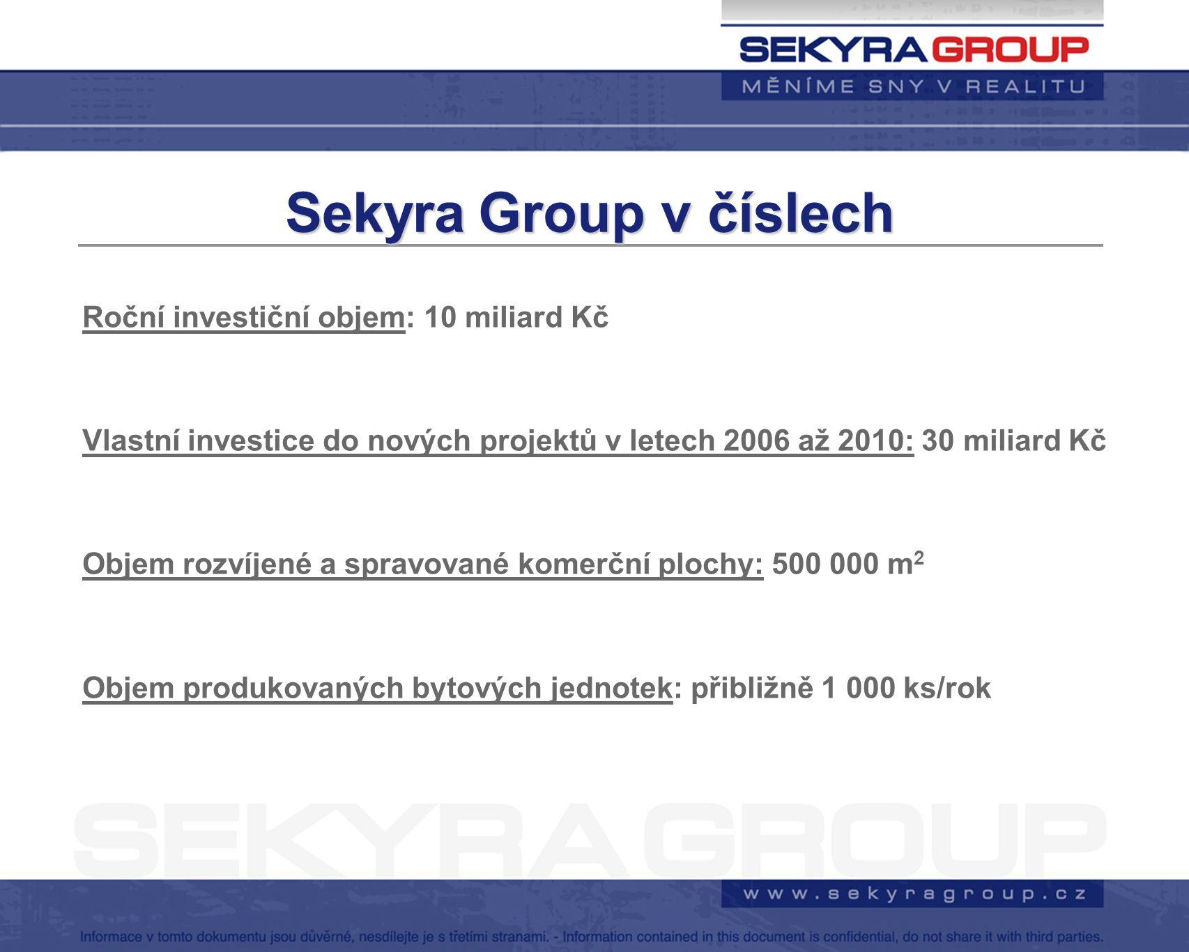 Sekyra Group v číslech Roční investiční objem: 10 miliard Kč Vlastní investice do nových projektů v letech 2006 až 2010: 30 miliard Kč Objem rozvíjené