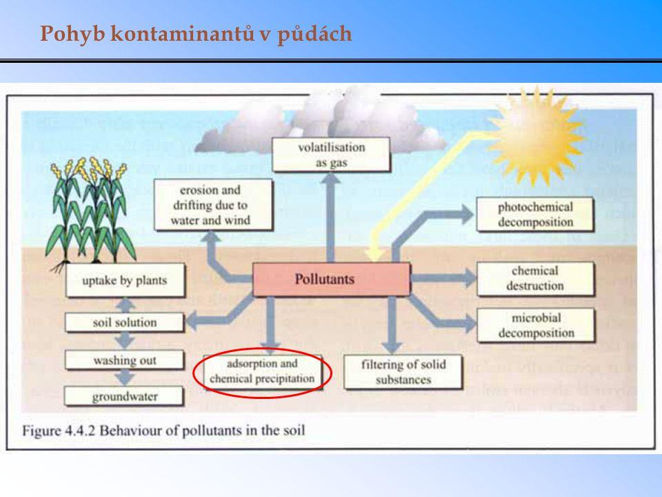 Sorpce v půdě a v sedimentech A: Absorpce do amorfní organické hmoty (non- aqueous phase liquid, NAPL) B: Absorpce do kondenzované organické hmoty (soil organic matter, SOM) C: Adsorpce na vlhké povrchy organické hmoty D: Adsorpce na vlhké minerální povrchy E: Adsorpce na minerály s mikropóry (např.