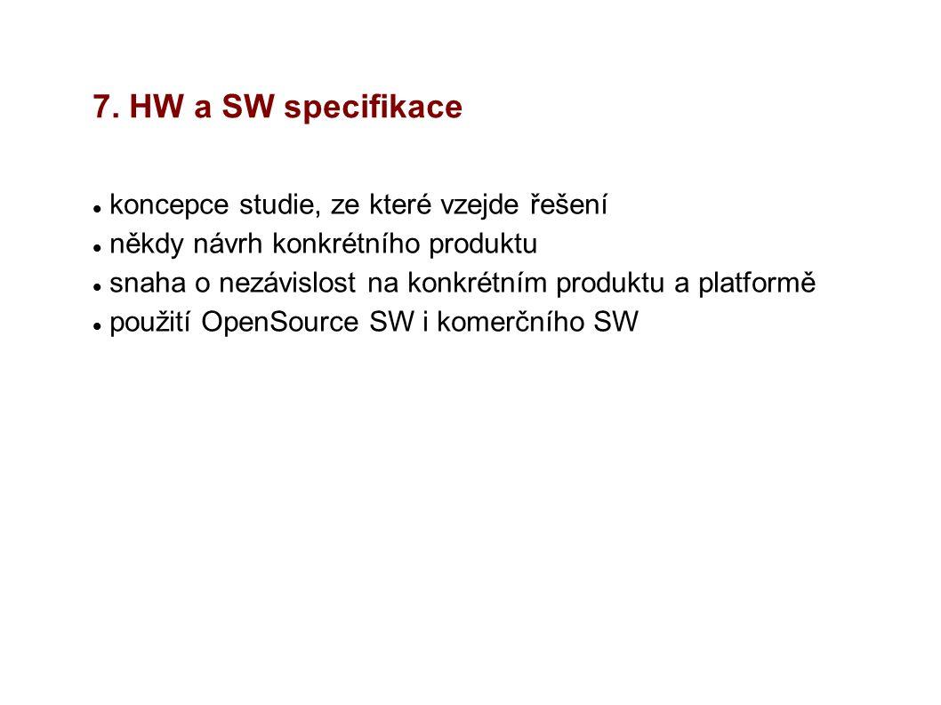 7. HW a SW specifikace koncepce studie, ze které vzejde řešení někdy návrh konkrétního produktu snaha o nezávislost na konkrétním produktu a platformě