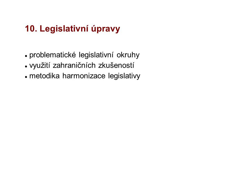 10. Legislativní úpravy problematické legislativní okruhy využití zahraničních zkušeností metodika harmonizace legislativy