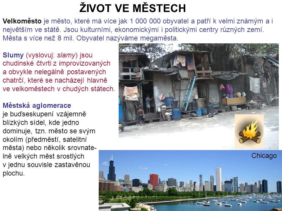 ŽIVOT VE MĚSTECH Velkoměsto je město, které má více jak 1 000 000 obyvatel a patří k velmi známým a i největším ve státě.