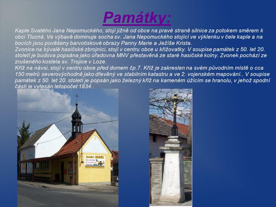 Památky: Kaple Svatého Jana Nepomuckého, stojí jižně od obce na pravé straně silnice za potokem směrem k obci Tlucná. Ve výbavě dominuje socha sv. Jan