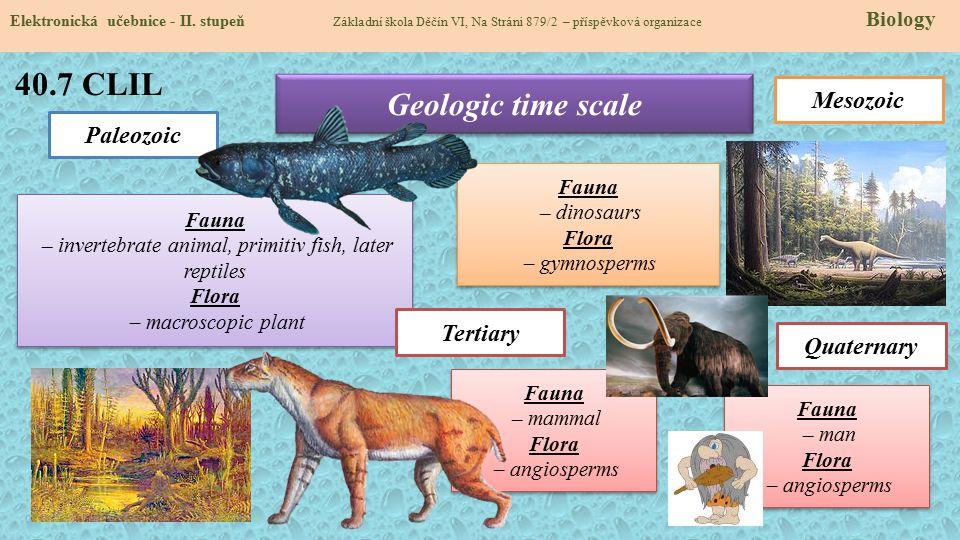 40.7 CLIL Elektronická učebnice - II. stupeň Základní škola Děčín VI, Na Stráni 879/2 – příspěvková organizace Biology Geologic time scale Paleozoic F