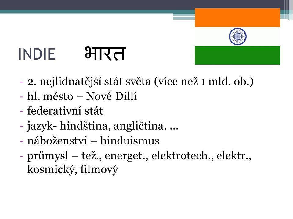 INDIE -2. nejlidnatější stát světa (více než 1 mld. ob.) -hl. město – Nové Dillí -federativní stát -jazyk- hindština, angličtina, … -náboženství – hin