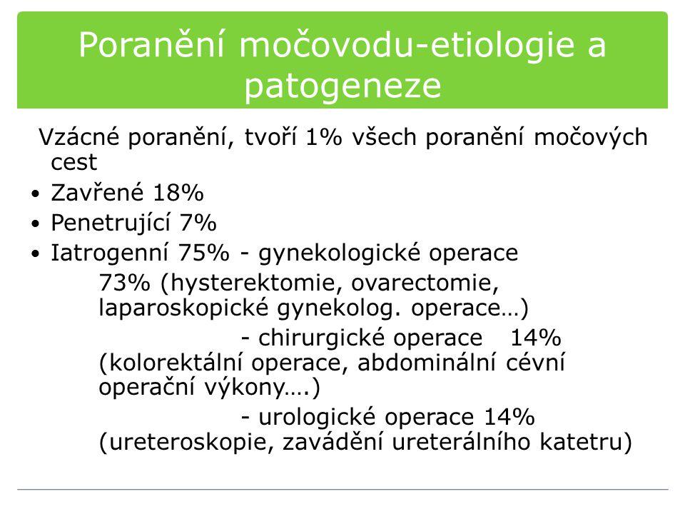 Poranění močovodu-etiologie a patogeneze Vzácné poranění, tvoří 1% všech poranění močových cest Zavřené 18% Penetrující 7% Iatrogenní 75% - gynekologické operace 73% (hysterektomie, ovarectomie, laparoskopické gynekolog.