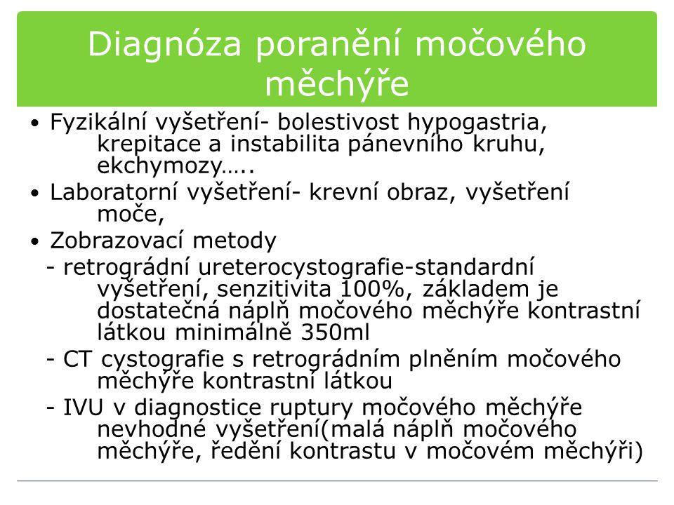 Diagnóza poranění močového měchýře Fyzikální vyšetření- bolestivost hypogastria, krepitace a instabilita pánevního kruhu, ekchymozy….. Laboratorní vyš