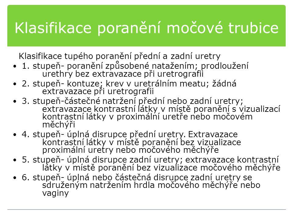 Klasifikace poranění močové trubice Klasifikace tupého poranění přední a zadní uretry 1. stupeň- poranění způsobené natažením; prodloužení urethry bez