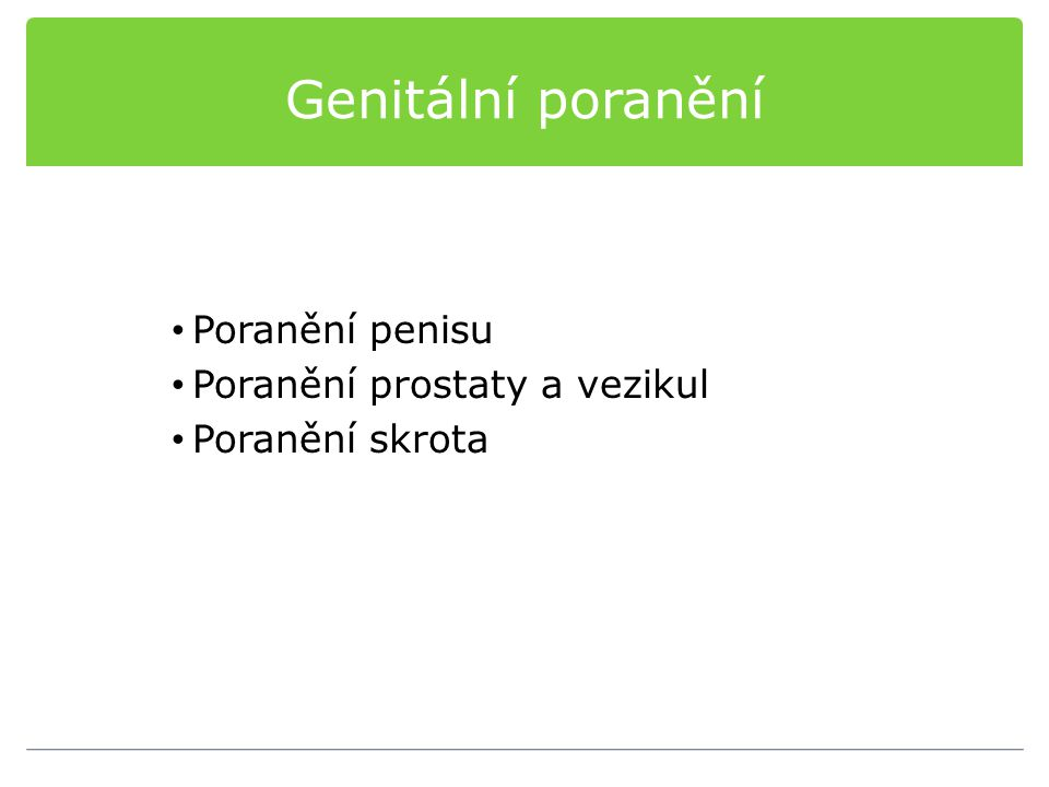 Genitální poranění Poranění penisu Poranění prostaty a vezikul Poranění skrota