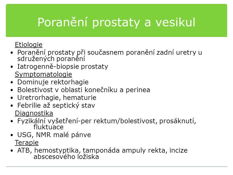 Poranění prostaty a vesikul Etiologie Poranění prostaty při současnem poranění zadní uretry u sdružených poranění Iatrogenně-biopsie prostaty Symptomatologie Dominuje rektorhagie Bolestivost v oblasti konečníku a perinea Uretrorhagie, hematurie Febrilie až septický stav Diagnostika Fyzikální vyšetření-per rektum/bolestivost, prosáknutí, fluktuace USG, NMR malé pánve Terapie ATB, hemostyptika, tamponáda ampuly rekta, incize abscesového ložiska