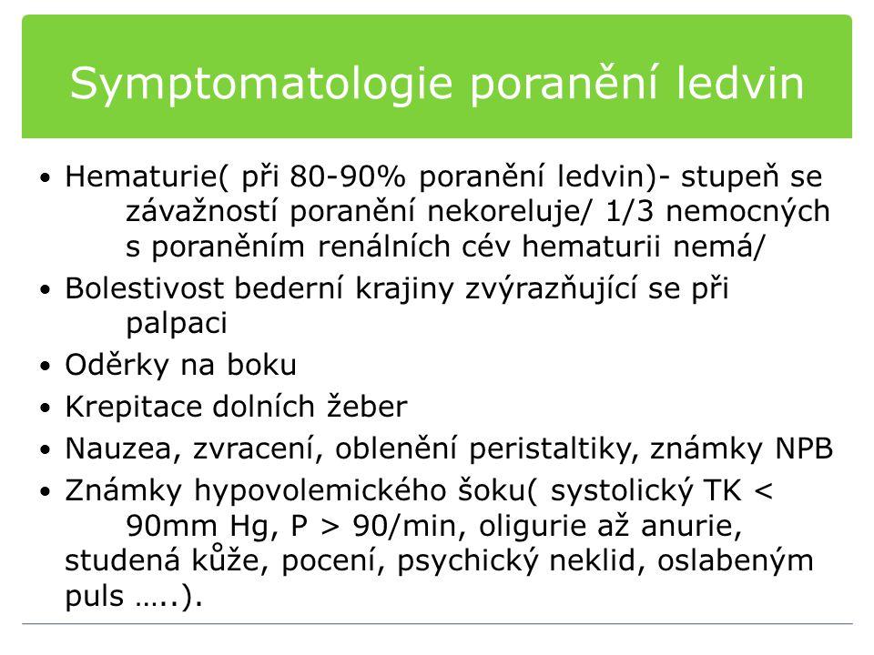 Symptomatologie poranění ledvin Hematurie( při 80-90% poranění ledvin)- stupeň se závažností poranění nekoreluje/ 1/3 nemocných s poraněním renálních cév hematurii nemá/ Bolestivost bederní krajiny zvýrazňující se při palpaci Oděrky na boku Krepitace dolních žeber Nauzea, zvracení, oblenění peristaltiky, známky NPB Známky hypovolemického šoku( systolický TK 90/min, oligurie až anurie, studená kůže, pocení, psychický neklid, oslabeným puls …..).