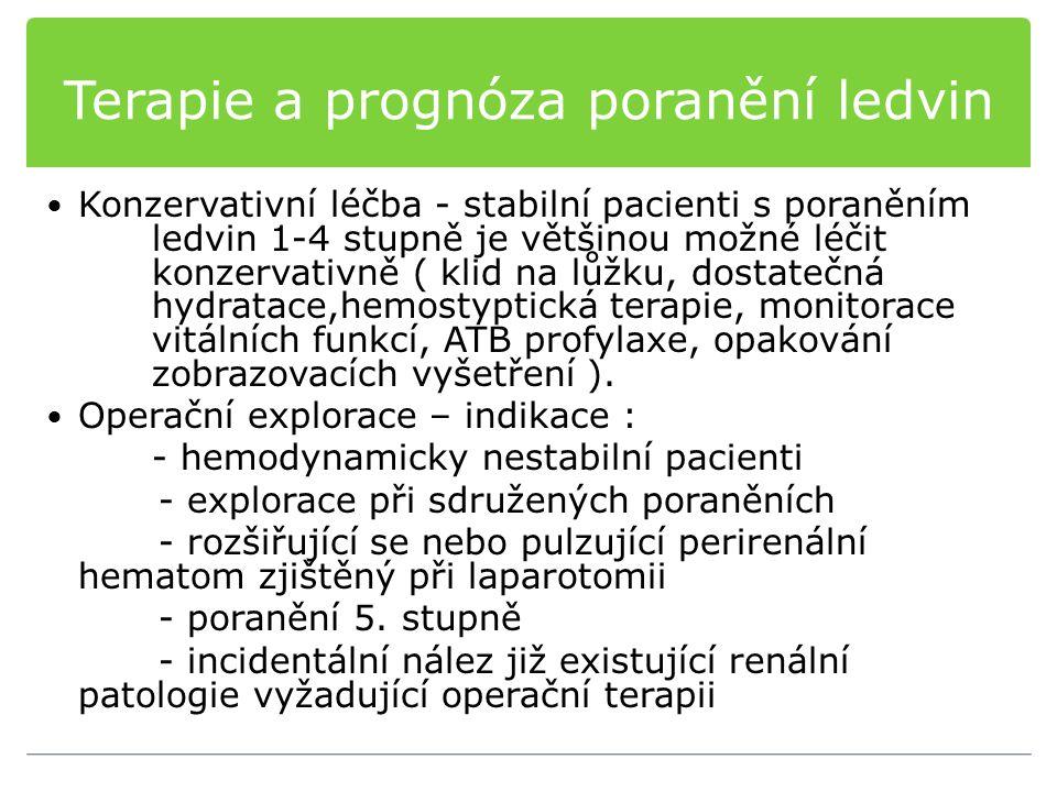 Terapie a prognóza poranění ledvin Konzervativní léčba - stabilní pacienti s poraněním ledvin 1-4 stupně je většinou možné léčit konzervativně ( klid
