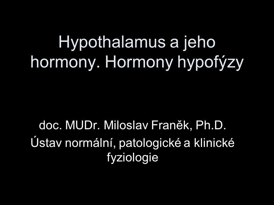 Neurohypofýza pituicyty: glii podobné buňky, hormony neprodukují podpůrná struktura pro nervová zakončení z hypothalamických jader SON a PVN zakončení obsahují sekreční granula a leží na povrchu kapilár hormony syntetizovány v tělech neuronů a pak za pomocí neurofyzínů transportovány axonem (několik dnů)
