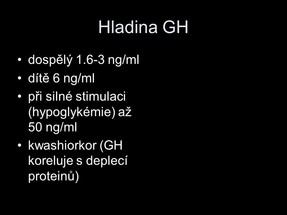 Hladina GH dospělý 1.6-3 ng/ml dítě 6 ng/ml při silné stimulaci (hypoglykémie) až 50 ng/ml kwashiorkor (GH koreluje s deplecí proteinů)