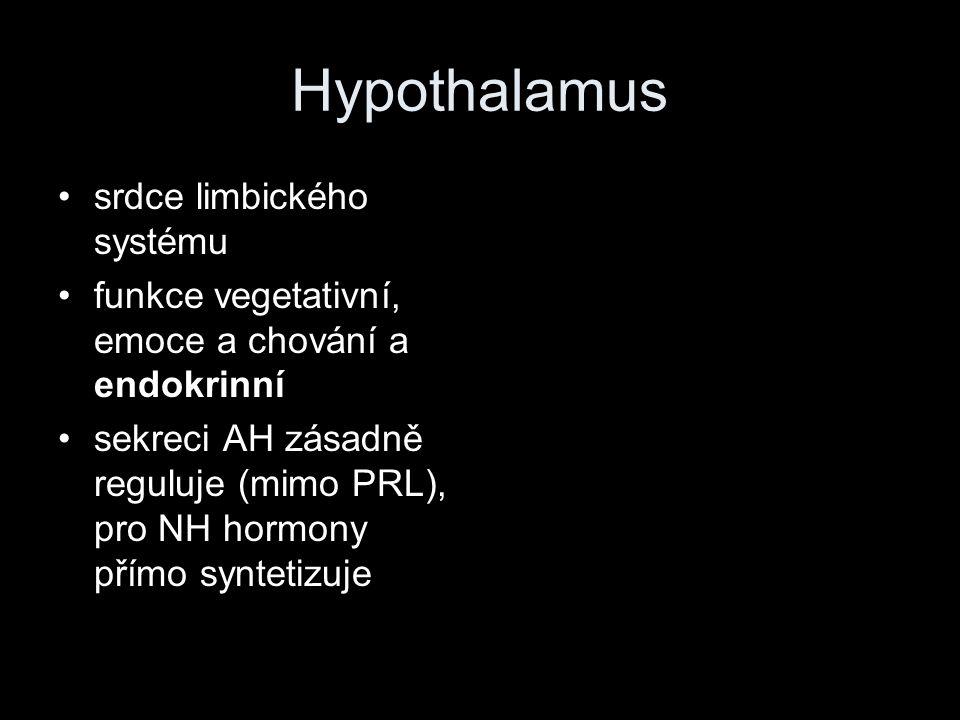 Hypothalamus srdce limbického systému funkce vegetativní, emoce a chování a endokrinní sekreci AH zásadně reguluje (mimo PRL), pro NH hormony přímo sy