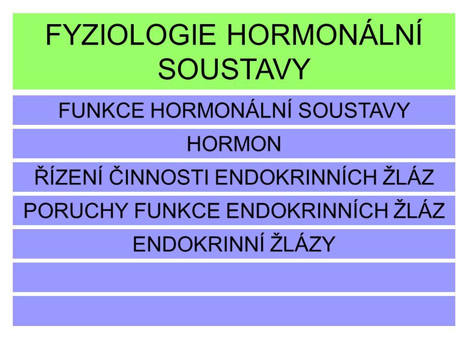FYZIOLOGIE HORMONÁLNÍ SOUSTAVY FUNKCE HORMONÁLNÍ SOUSTAVY HORMON ŘÍZENÍ ČINNOSTI ENDOKRINNÍCH ŽLÁZ ENDOKRINNÍ ŽLÁZY PORUCHY FUNKCE ENDOKRINNÍCH ŽLÁZ