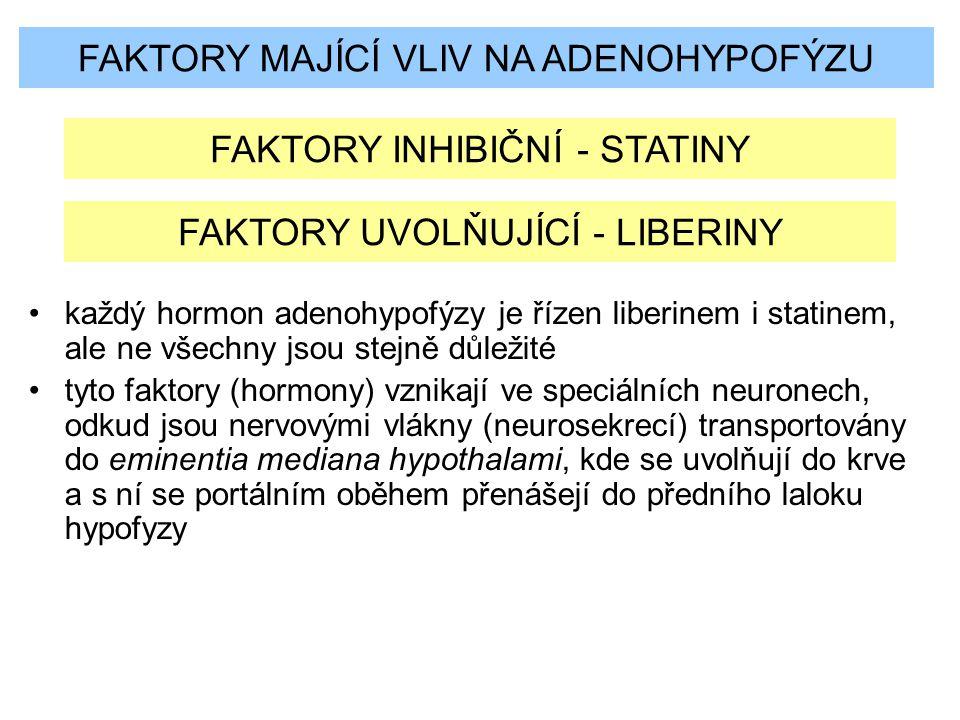 FAKTORY MAJÍCÍ VLIV NA ADENOHYPOFÝZU FAKTORY INHIBIČNÍ - STATINY FAKTORY UVOLŇUJÍCÍ - LIBERINY každý hormon adenohypofýzy je řízen liberinem i statine