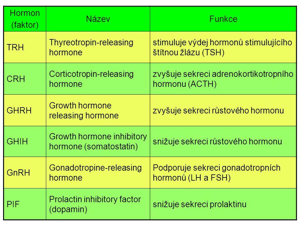 Hormon (faktor) NázevFunkce TRH Thyreotropin-releasing hormone stimuluje výdej hormonů stimulujícího štítnou žlázu (TSH) CRH Corticotropin-releasing h