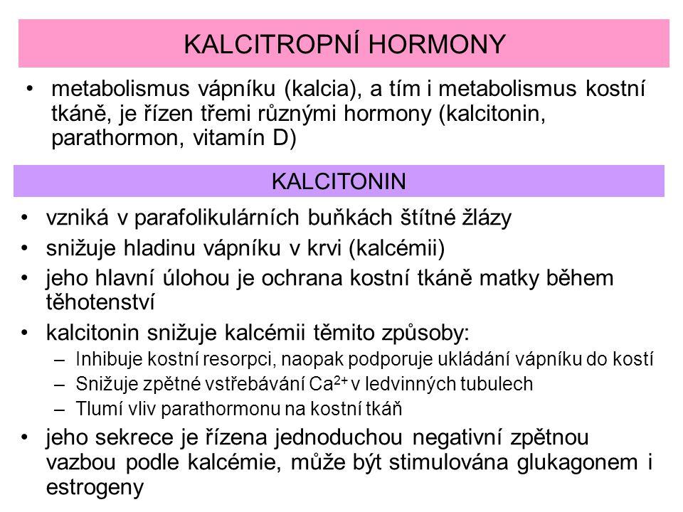 KALCITROPNÍ HORMONY metabolismus vápníku (kalcia), a tím i metabolismus kostní tkáně, je řízen třemi různými hormony (kalcitonin, parathormon, vitamín