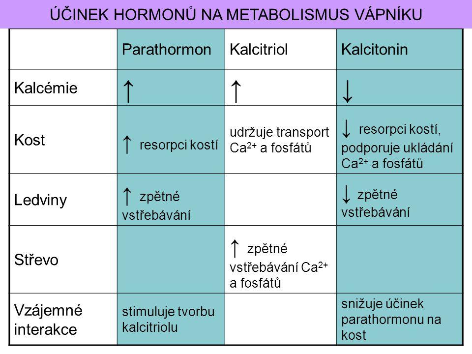ParathormonKalcitriolKalcitonin Kalcémie ↑↑↓ Kost ↑ resorpci kostí udržuje transport Ca 2+ a fosfátů ↓ resorpci kostí, podporuje ukládání Ca 2+ a fosf