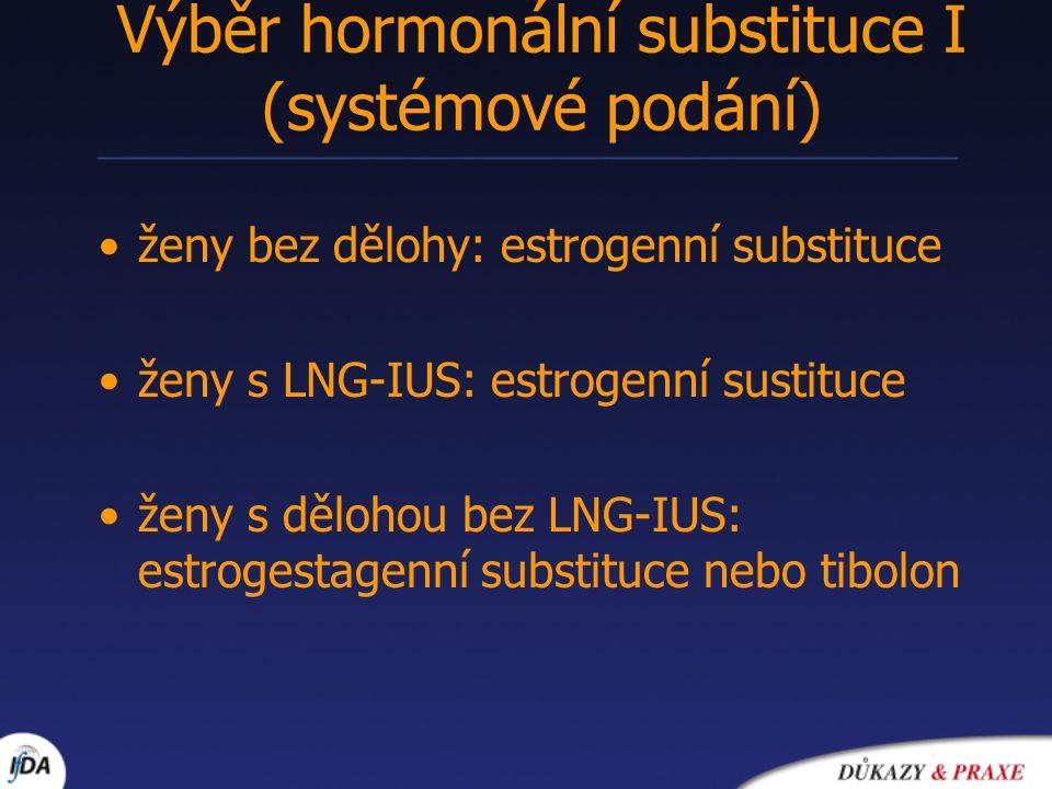 Výběr hormonální substituce II (lokální podání) urogenitální atrofie (pokud je systémové nepostačující, je kontraindikováno, žena ho odmítá)