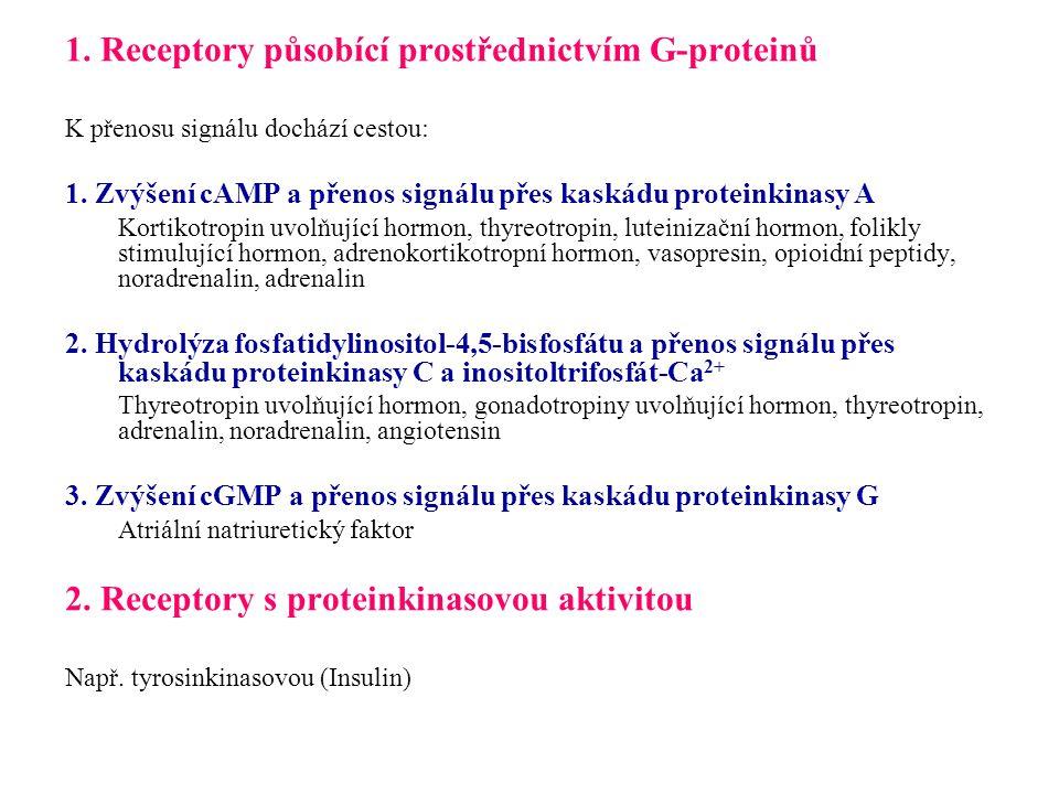 1. Receptory působící prostřednictvím G-proteinů K přenosu signálu dochází cestou: 1. Zvýšení cAMP a přenos signálu přes kaskádu proteinkinasy A Korti