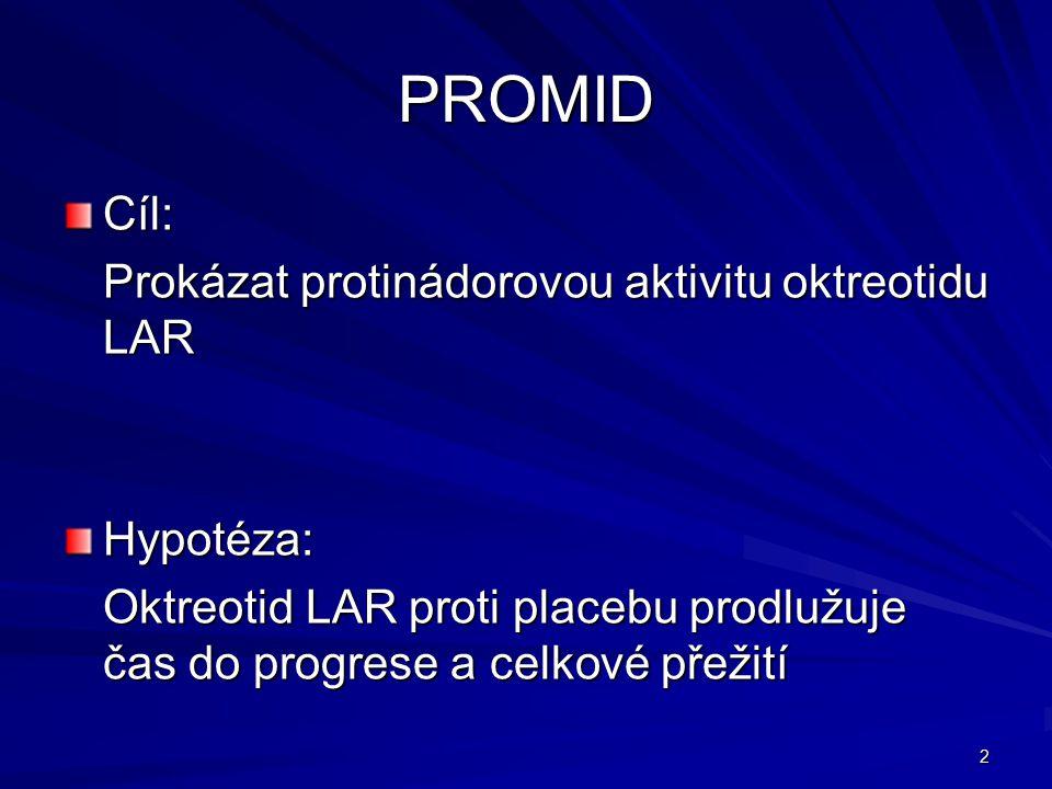 2 PROMID Cíl: Prokázat protinádorovou aktivitu oktreotidu LAR Hypotéza: Oktreotid LAR proti placebu prodlužuje čas do progrese a celkové přežití