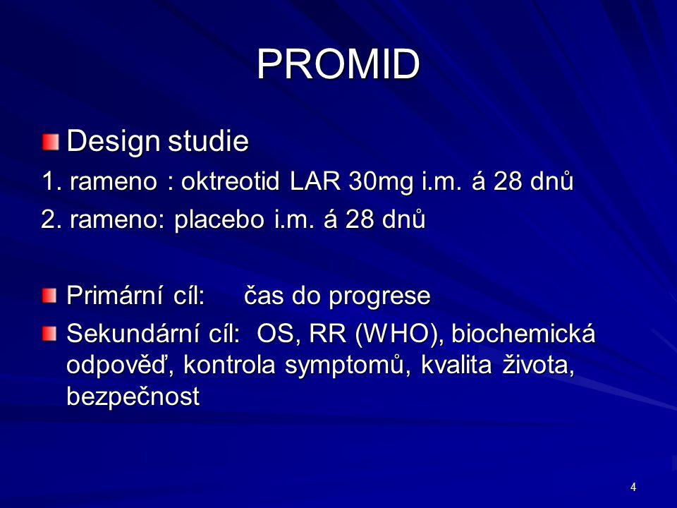 4 PROMID Design studie 1. rameno : oktreotid LAR 30mg i.m.